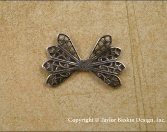 Antiqued Sterling Silver Plated Dapped Filigree Bow Charm (item 208 AS) - 6 Pieces