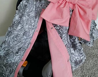 Carseat Canopy Silver Rosette Coral car seat cover carseat cover car seat blanket