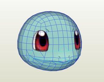 Mascara de Squirtle / Squirtle Mask, pokemon universe. Papercraft / Pepakura.