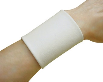Leather Tattoo cover up, Extra Wide leather cuff, Soft leather cuff, Tattoo Cover 3 inch wide cuff, Beige, Neutral Off WHITE, non metal