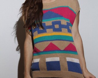 Shape Shifting Sweater // Russ // Large // geometric shapes // knit sweater // sleevless