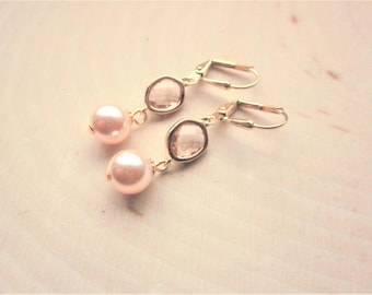 Handmade Peach Earrings Peach Pearl Earrings Swarovski Peach Earrings Swarovski Pearl Earrings Peach Wedding Peach Bridesmaid Earrings