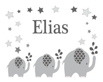 Personalized pillow with name and motif elephant Grey boy/girl