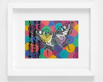 Butterfly Art Print - Colorful Artwork - Girls Room Decor - Rainbow Art Print - Nature Drawing - Modern Nursery Art - Geometric Art