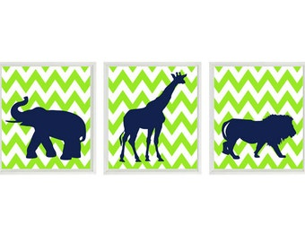 Nursery Art Prints  - Elephant Giraffe Lion Safari Zoo - Lime Green Navy Blue Chevron - Modern Kids Baby Boy Room Home Decor