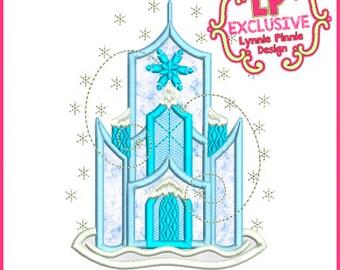 Snowy Winter Ice Castle Applique 4x4 5x7 6x10 7x11 SVG Machine Embroidery Design