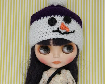 SALE!!!!!!Blythe snowman hat purple/white.