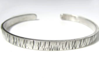 LINES Women's Sterling Silver Cuff Bracelet, Gift for Her, Textured