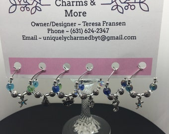 At The Beach Wine Glass Charms