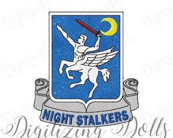 Night Stalkers Crest Applique Machine Embroidery Design 4x4 5x7 Military INSTANT DOWNLOAD