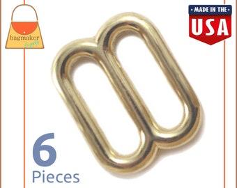 "5/8 Inch Slides for Purse Straps, Shiny Brass Finish, 6 Pieces, Handbag Bag Making Hardware, 5/8"", BKS-AA039"
