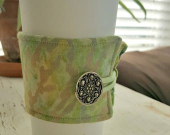 Multi-Colored Green Marble Java Jacket/Coffee Sleeve with Vintage Button/Coffee Cup Cozy/Reusable/Mug Cozy