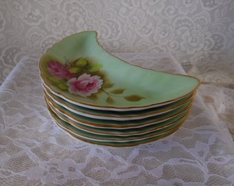 6 Lefton Green Bone Plates with Hand Painted Roses Pattern #3708