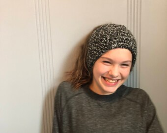 Charcoal gray ponytail crocheted hat