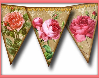 Primitive Victorian RoSES-Banner -ViNtAgE ArT Pennants - INSTaNT DOWNLoAD - Printable Collage Sheet JPG Digital File-Create Your Own Banner