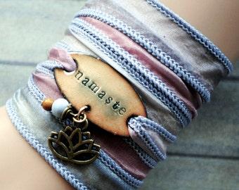 Silk wrap bracelet,  silk ribbon bracelet ,boho wrap,NAMASTE ,handdyed,enameled copper,yoga,ruban de soie,Seidenband