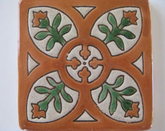15-MED09 Mediterranean Decorative Tile in Terracotta/Green, 4.25 x 4.25 (Shipping Included)