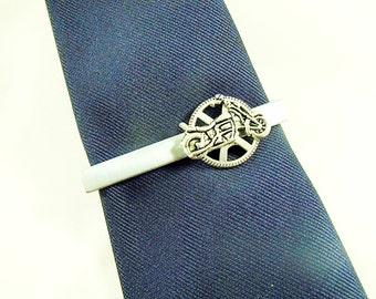 Tie Bar Tie Clip,  Mens Silver Motorcycle and Gear Sprocket  Mens Accessories  Handmade