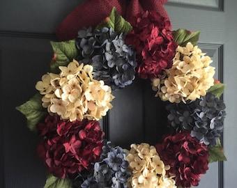Patriotic Wreath | Americana Decor | 4th of July Wreath | Red, White, & Blue Wreath | Summer Wreath | Front Door Wreaths | Hydrangea Wreath