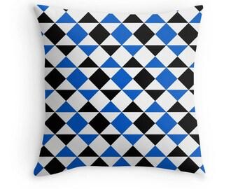 Blue Black Pillow, Blue Geometric Pillow, Blue Black Pillow Case, Blue Decorative Pillow, Blue Black Bedding, Blue Geometric Pillow