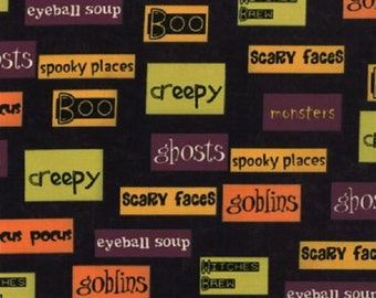 STORE CLOSING SALE - Moda, Monster Bash, Black, Sandy Gervais, 100% Cotton Quilt Fabric, Halloween Fabric, Quilting Fabric