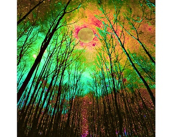 Surreal fantasy forest, digital print, modern art, abstract print, photomontage, fine art print, home decor, contemporary forest, wall art