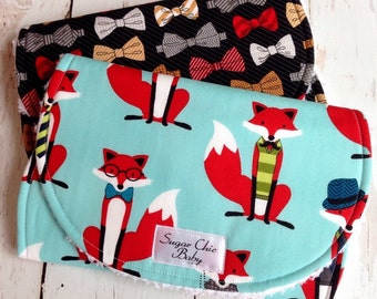 Burp Cloths for Baby Boy   -  Super Absorbent Triple Layer Chenille - Set of 2  - Fox & The Houndstooth Bow Ties
