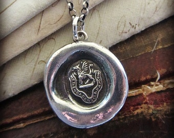 Dragon Wax Seal Pendant Necklace - Wax Seal Heraldic Crest Necklace - Fear the Dragon - RP840