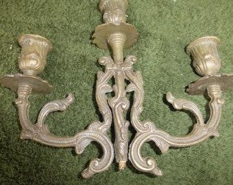 Vintage antique bronze brass 3 Cup candelabra part piece repurpose