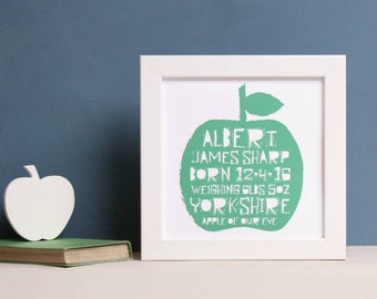 Personalised New Baby Apple Print