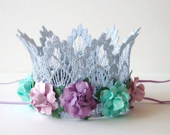 First Birthday Baby Silver Lace Crown - Aqua Purple Lavender Flowers - Silver Baby Crown - Photo Prop - First Birthday Cake Smash - Mermaid