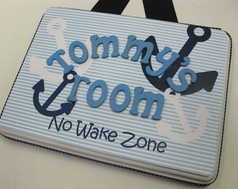 No Wake Zone Boys Nautical Anchor Navy Blue Room Plaque