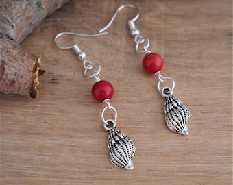 boho style earrings , gemstone coral beads , silver shell charms, silver plated ear hooks, boho lover gift