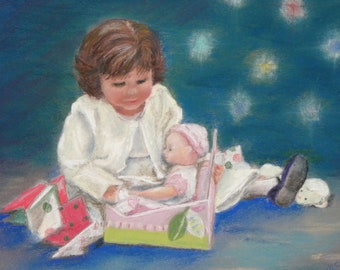 Christmas Doll Original Pastel OOAK Framed