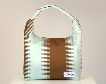 Lunch Bag Insulated, Women Lunch Bag, Insulated Lunch Bag, Small Purse, Work Lunch Bag-Mint Green Chocolate Brown Wide Stripe