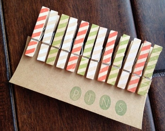 """Mini Clothespins """"Holiday Stripes"""" - Set of 12 Handstamped Clothes Pins"""