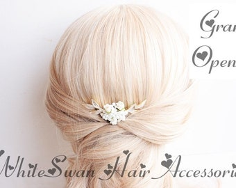 Bead Hair Comb for Wedding, with Flowers & Leaves / Comb, Wedding Comb, Bridal Comb, Gold Comb, Bead Comb, Flower Comb, Leaf Comb