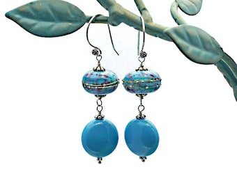 Lampwork Bead Earrings Swarovski Crystal Coin Pearls Sterling Silver Pins and Earwires Turquoise Blue Green Purple Victorian Boho Chic OOAK