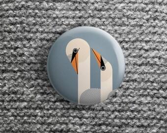 button met zwaan (pin / magneet / spiegel)