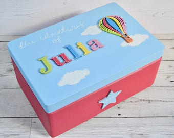 Personalised Baby Keepsake Box, Hot Air Balloon Wooden Memory Box, Baby Gift Box, Children's Memory Box, The Adventures of, Time capsule