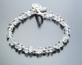 Eternally Frozen Bracelet - Gemstones, Semiprecious, Bridal, Anniversary, Gift For Her, Pewter, Silver Jewelry, Wedding Jewelry, Ice