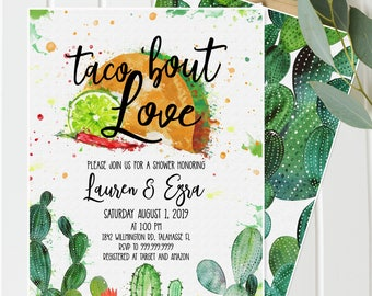 Fiesta Shower Invitation - Cactus, Taco Bout Love Baby, Bridal and/or Wedding Shower Southwestern Shower, Taco Tuesday Gender Neutral
