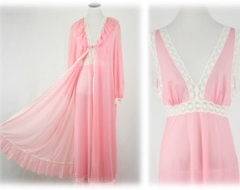 1970s Rose Pink Nylon Night Gown and Robe Set Peignoir Set by Vanity Fair Size 34