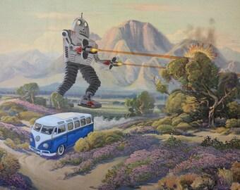 "Altered Painting ""Robot Attack!"" VW Volkswagen 23 Window Deluxe Bus Sci-Fi"