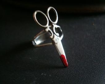 Scissor Ring, A Bit Bloody, Don't Run With Scissors, Metal Bonded, NOT Glued, Adjustable, Custom Original Design, USA Metals, Silver Ox