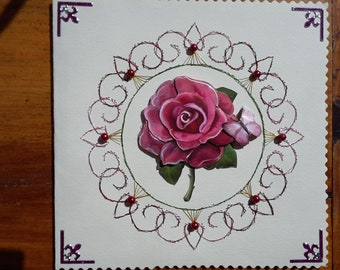 Pink Rosebud - hand made 3D card