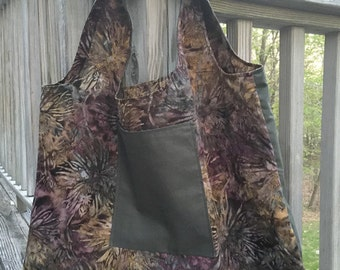 Market shopping tote bag, purple batik and forest green