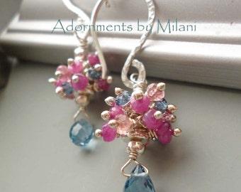 Pink Blue Earrings Gemstones Beaded Colorful - Patisserie