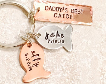 Hooked On Dad,Fishing Keychain, Our Best Catch Dad, Fish Keychain, Boyfriend Gift, Fishing, natashaaloha