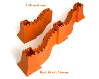 Great Wall of China, assembled paper model || choose from 16 colors || architecture to build as long as you wish